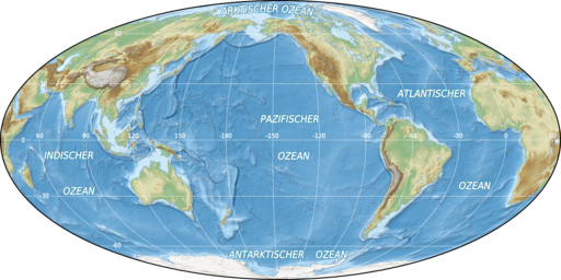 World oceans map mollweide de