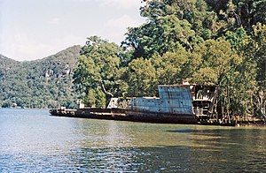 HMAS Parramatta (D55) - The wreck of Parramatta in the Hawkesbury River