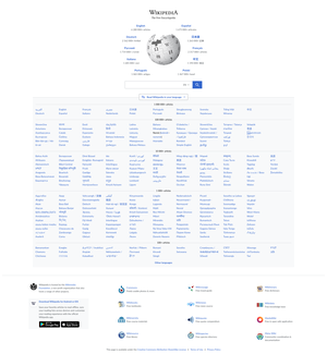 Wikipedia portal showing the different languages sorted by article count