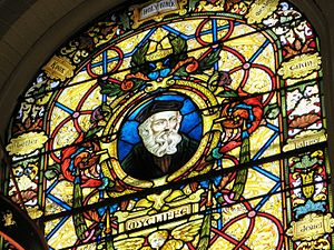 Wycliffe College, Toronto - Portrait of John Wycliffe on a stained glass window in the Wycliffe College chapel