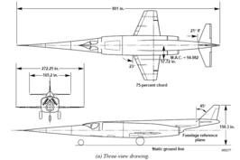X-3 Stiletto 3 view diagram WIKI-EN NASA.png