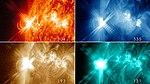 X3.2 Solar flare on 2013-05-14 at four wavelengths.jpg