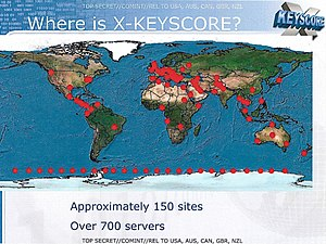 XKeyscore - Slide from a 2008 NSA presentation about XKeyscore, showing a worldmap with the locations of XKeyscore servers