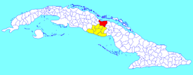 Yaguajay municipality (red) within  Sancti Spíritus Province (yellow) and Cuba