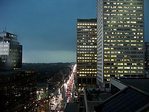 Eglinton Avenue - Eglinton Avenue on a rainy day, with Canada Square and the Yonge Eglinton Centre