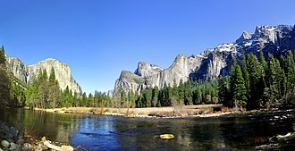 Merced River - The Merced River in Yosemite Valley, with Bridalveil Fall (middle) and El Capitan (left)