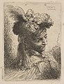 Young Man Facing Three Quaters Right Wearing a Fur Headdress With a Plume, Jewel and a Headband MET DP816396.jpg