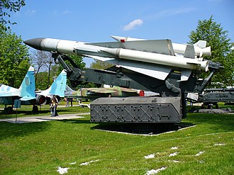 S-200 (missile) - S-200 missile (Vega) on its launcher