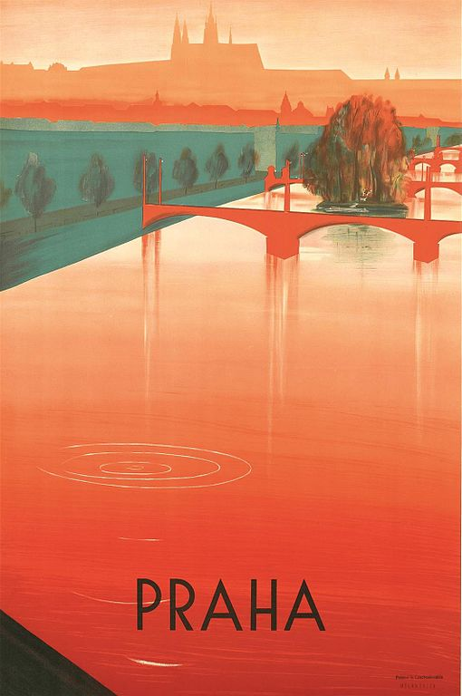 Prague, son fleuve et son chateau - Illustration de Zdeněk Rykr (1935).