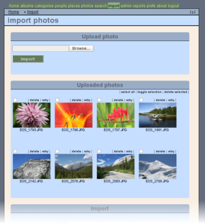 Zoph showing thumbnails of uploaded photos