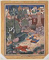 """'Umar Walks around Fulad Castle, Meets a Foot Soldier and Kicks Him to the Ground"", Folio from a Hamzanama (The Adventures of Hamza) MET DP235937.jpg"
