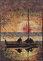 'Sunset at Christmas Eve, Honolulu, Hawaii', woodblock print by Arman Manookian, 6 x 4.25 in.jpg