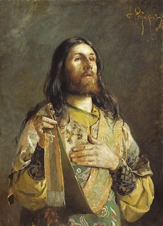 Litany - Russian Orthodox deacon giving an ektenia. He holds the edge of his orarion in his right hand, and will raise it as he finishes each petition.