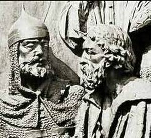 Mstislav Mstislavich - Detail from the Millennium of Russia Monument: Mstislav Mstislavich, left, and Daniel of Galicia, his son-in-law