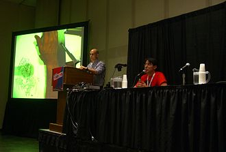 The Kubert School - Anthony Marques and Adam Kubert at a Kubert School presentation at the 2012 New York Comic Con