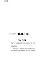 116th United States Congress H. R. 0000192 (1st session) - Trans-Sahara Counterterrorism Partnership Act B - Engrossed in House.pdf