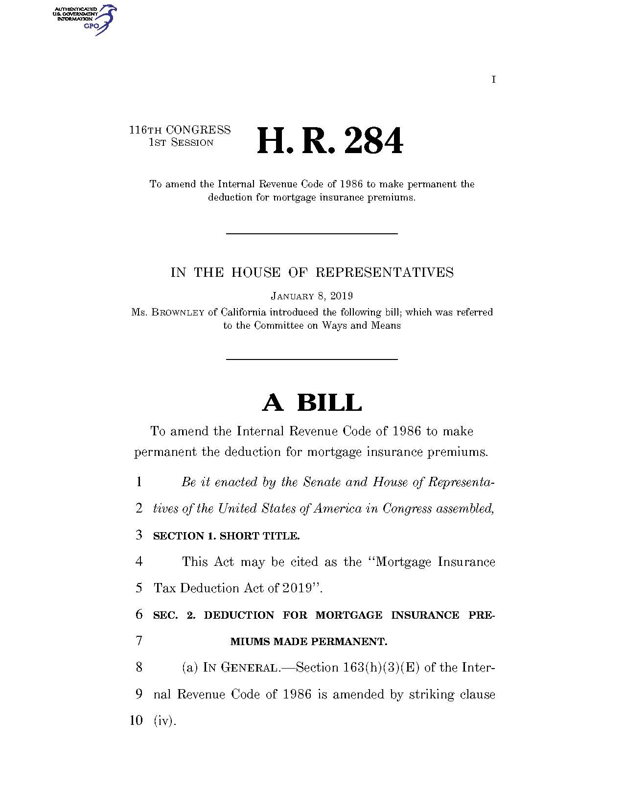 File:116th United States Congress H. R. 0000284 (1st session) - Mortgage  Insurance Tax Deduction Act of 2019.pdf - Wikimedia Commons