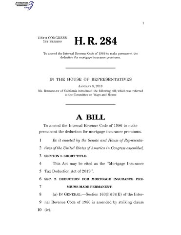 File 116th United States Congress H R 0000284 1st Session Mortgage Insurance Tax Deduction Act Of 2019 Pdf Wikimedia Commons