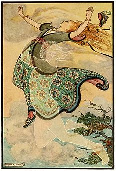 11 Whirlwind the Whistler carries away Golden Tress - Russian Fairy Book 1916, illustrator Frank C Pape.jpg