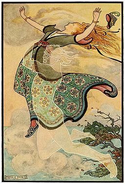11 Whirlwind the Whistler carries away Golden Tress - Russian Fairy Book 1916, illustrator Frank C Pape