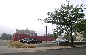 Robert M. and Matilda (Kitch) Grindley House - Parking lot where this building once stood, photographed in 2008