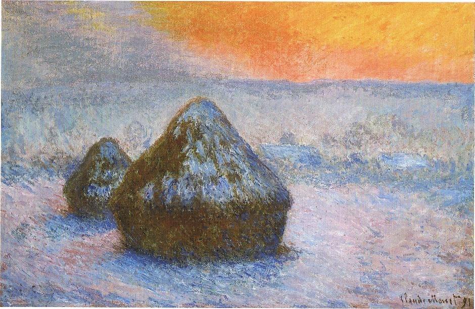 1278 Wheatstacks (Sunset, Snow Effect), 1890-91, 65.3 x 100.4 cm, 25 11-16 x 39 1-2 in., The Art Institute of Chicago