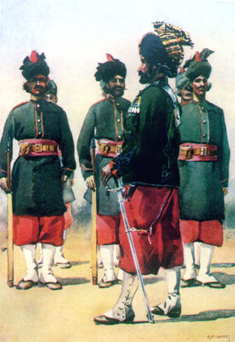 10th Baluch Regiment - 127th Queen Mary's Own Baluch Light Infantry. Watercolour by AC Lovett, c. 1910.