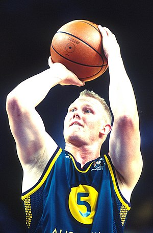 Troy Sachs - Sachs takes a free throw as part of the Australian men's wheelchair basketball team at the 2000 Summer Paralympics
