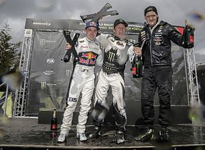 2016 World RX of Portugal - Heikkinen (3rd), Solberg (1st) and Larsson (2nd) celebrating on the podium