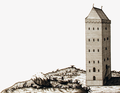 1751 Tower Neuwerk cropped Jacobus-Schuback-Commentarius-de-jure-littoris MG 0952.png