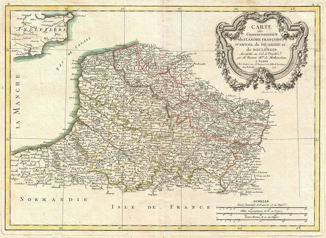 file 1771 bonne map of picardy  artois and french flanders