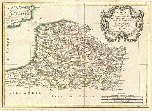 1771 Bonne Map of Picardy, Artois and French Flanders, France - Geographicus - Picardie-bonne-1771