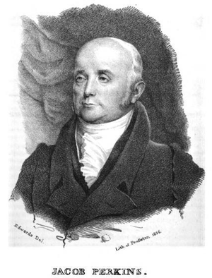 Jacob Perkins - Portrait of Jacob Perkins by Thomas Edwards (printed by Pendleton's Lithography), 1826
