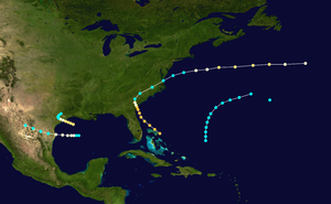 1854 Atlantic hurricane season - Image: 1854 Atlantic hurricane season summary map