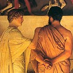1868 Lawrence Alma-Tadema - Phidias Showing the Frieze of the Parthenon to his Friends (tight crop).jpg