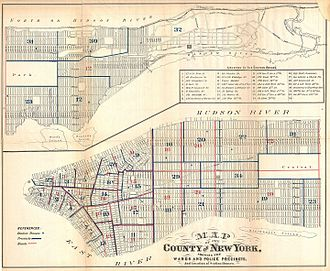 History of the New York City Police Department - 1871 map of wards and police precincts