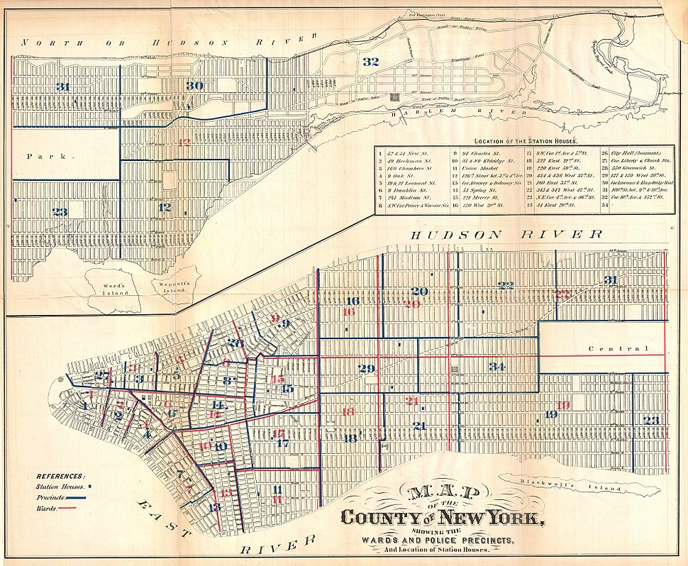 1871 Hardy Map of New York City Police Departments - Geographicus - NewYorkPoliceMap-hardy-1870