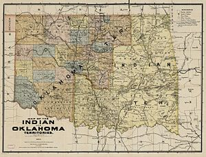 Oklahoma Territory - Map of Indian Territory and Oklahoma Territory in 1894, showing political subdivisions existing then. Both Territories ceased to exist November 16, 1907, when the State of Oklahoma became effective.
