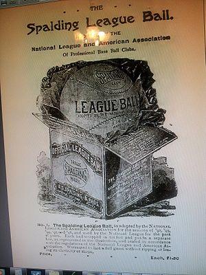 Spalding (sports equipment) - Image: 1896 Spalding League Baseball Advertisement