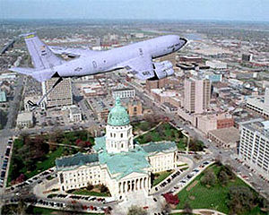 Kansas Air National Guard - Image: 190th ARW KC 135 over Capitol
