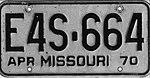 1970 Missouri license plate E4S-664.jpg