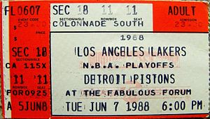 Detroit Pistons - A ticket for Game 1 of the 1988 NBA Finals at The Forum.