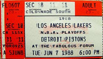 1987–88 Detroit Pistons season - A ticket for Game 1 of the 1988 NBA Finals at The Forum.