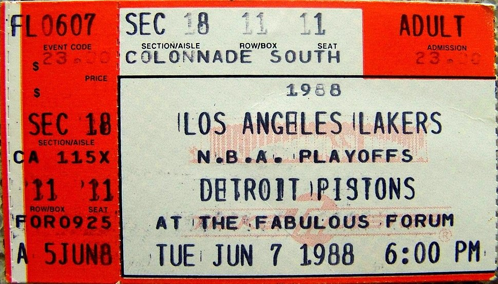 1988 NBA Finals - Game 1 - Detroit Pistons at Los Angeles Lakers 1988-06-07 (ticket)