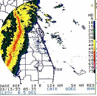 1993 Storm of the Century - The Derecho moves into the Florida coast during the overnight hours of March 13, 1993
