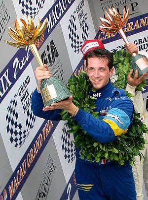 Tristan Gommendy - Gommendy on the podium after winning the 2002 Macau Grand Prix
