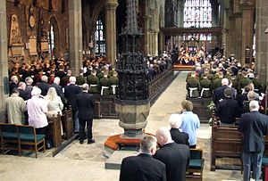 Halifax Minster - View of the font at the rear end of the main aisle