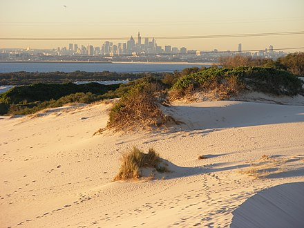 Kurnell Sand Dunes with the Sydney skyline in the background. 2007 0806klklk0054.JPG