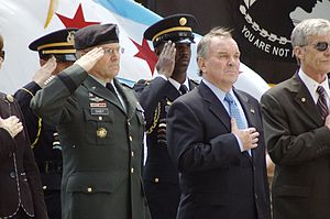 Richard J. Daley Center - Chief of Staff of the United States Army Gen. George W. Casey, Jr. and Chicago Mayor Richard M. Daley recite the Pledge of Allegiance during May 24, 2008 Memorial Day wreath laying ceremony at Daley Plaza.