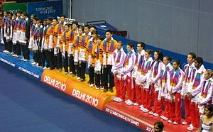 2010 Commonwealth Games - Medalists of the Badminton mixed team competition at the 2010 Commonwealth Games in Delhi. From the left: India (silver), Malaysia (gold), and England (bronze).